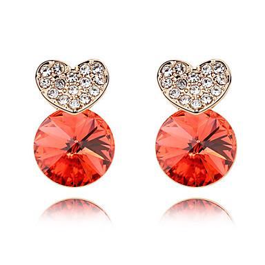 Damskie Kolczyki na sztyft Kryształ Spersonalizowane Miłość Serce Okrąg euroamerykańskiej Biżuteria Na Ślub Impreza Urodziny