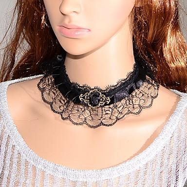 Damen Blume Klassisch Modisch Halsketten Synthetischer Saphir Spitze Halsketten . Hochzeit Party Besondere Anlässe Geburtstag Verlobung