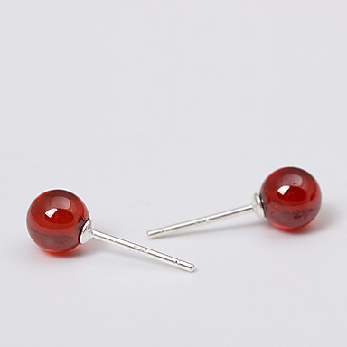 Kolczyki na sztyft Biżuteria Osobiste euroamerykańskiej minimalistyczny styl Srebro standardowe Czerwony Biżuteria NaŚlub Impreza