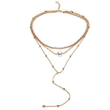 Damen Stern Gestalten Einzigartiges Design Euramerican Halsketten Synthetischer Diamant Künstliche Perle Aleación Halsketten Hochzeit
