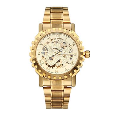 WINNER Herrn Mechanische Uhr Armbanduhr Automatikaufzug Transparentes Ziffernblatt Edelstahl Band Luxuriös Gold