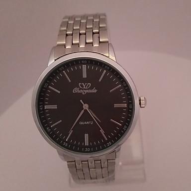Herren Kleideruhr Armbanduhr Quartz Edelstahl Band Schwarz Silber