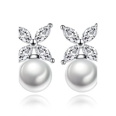 Damen Kubikzirkonia Sterling Silber Künstliche Perle Ohrstecker - Geometrisch Einzigartiges Design Blume Für Hochzeit Party Alltag Normal