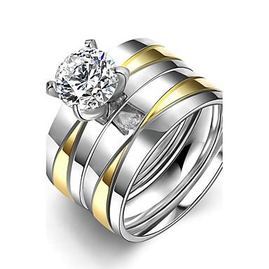 Dames Ring Verlovingsring Bandringen Eenvoudige Stijl Bruids Modieus Titanium Staal Rond Sieraden Kerstcadeaus Bruiloft Feest Speciale