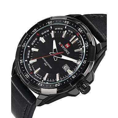 NAVIFORCE Heren Sporthorloge Modieus horloge Polshorloge Vrijetijdshorloge Kwarts Kalender PU Band Luxe Informeel Cool Zwart Bruin