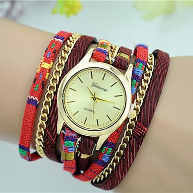 Damen Quartz Armband-Uhr Mehrfarbig Stoff Band Freizeit Modisch Schwarz Rot Beige Marinenblau Rose