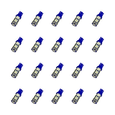 20pcs t10 9 * 5050 smd LED-uri auto condus bec albastru dc12v