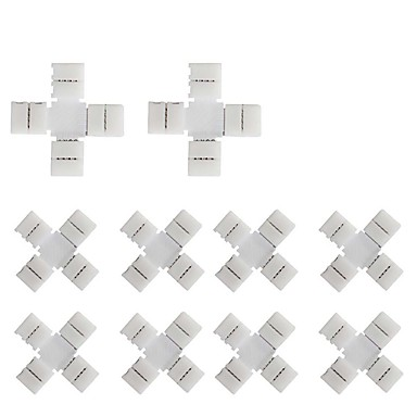 10 stuks pak x kruisvorm soldeerloze snap down 4 geleider geleide strip connector voor snelle splitter verbinding van 10mm breed 5050 rgb