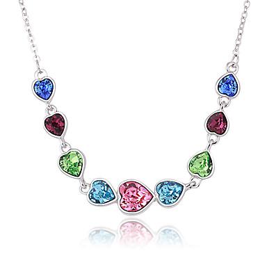 Kadın's Uçlu Kolyeler Kristal Aşk Kalp Moda Kişiselleştirilmiş Euramerican Mücevher Uyumluluk Düğün Parti