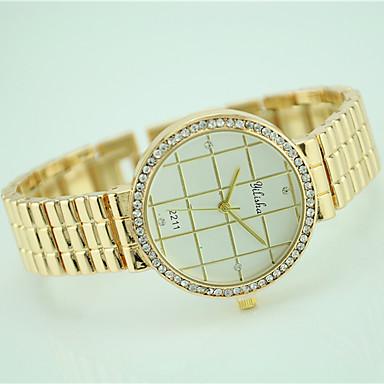 Damen Armbanduhr Modeuhr Quartz Strass Legierung Band Freizeit Gold