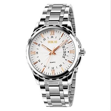Erkek Moda Saat Quartz Alaşım Bant Gümüş Beyaz /Gümüş Simli / Beyaz Siyah/Gümüş