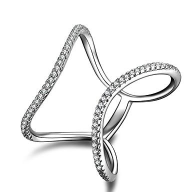 للمرأة خواتم بيان مكعب زركونيا هندسي تصميم فريد كلاسيكي بانغك Rock euramerican في بيان المجوهرات أسلوب بسيط عيد الميلاد فضة الاسترليني
