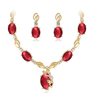 Damen Schmuckset Kreolen Halskette Modisch Euramerican Strass Glas Aleación Geometrische Form 1 Halskette 1 Paar Ohrringe Für Hochzeit