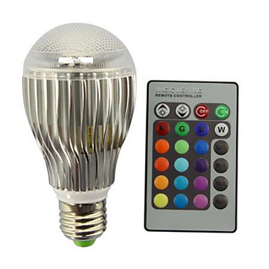 9W E27 مصابيح كروية LED A60(A19) 1 الأضواء LED مدموج تخفيت جهاز تحكم ديكور RGB 800 AC 85-265V