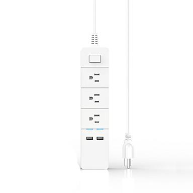 Aiawiss protecție la supratensiuni 3 ieșiri de curent alternativ cu 2 porturi USB (5v / 2.4ax2) cablu de alimentare extensie cablu de 5 ft