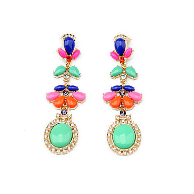 Cercei Stud Cristal Personalizat Euramerican Picătură Rosu Verde Bijuterii Pentru 1 pereche