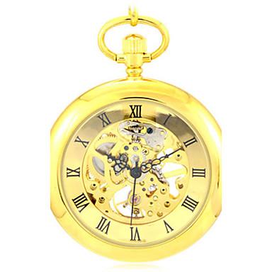 رجال ساعة الهيكل ساعة جيب ووتش الميكانيكية كوارتز داخل الساعة أتوماتيك أشابة فرقة ذهبي