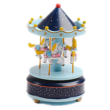 Muziekdoos Speeltjes Schattig Vierkant Cilindrisch Carrousel Merry Go Round Muovi Stuks Unisex Geschenk