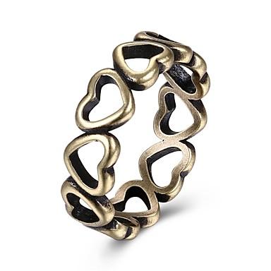 Kadın's Yüzük Mücevher Bronz Kalay Alaşımı Düzensiz Kalp Kişiselleştirilmiş Wzór geometryczny Eşsiz Tasarım Vintage Temel Arkadaşlık