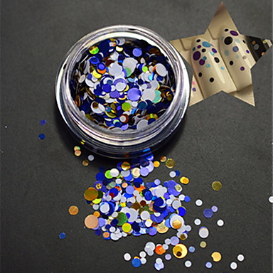 1 şişe moda çivi sanatı diy güzellik karışık renkli parıltılı paillette yuvarlak dilim p12