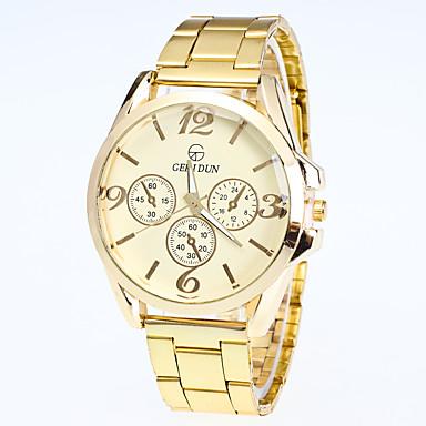 Herrn Modeuhr Armbanduhr Quartz Legierung Band Freizeit Gold