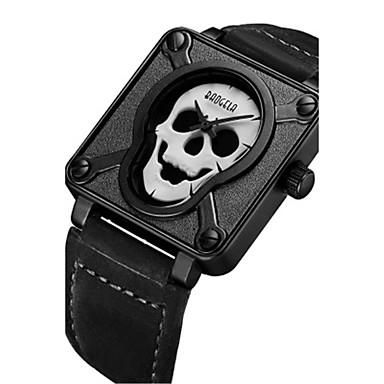 للرجال ساعات فاشن فريدة من نوعها الإبداعي ووتش ساعة المعصم كوارتز جلد فرقة جمجمة أسود بني