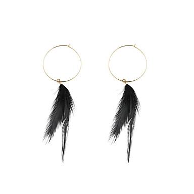 Damskie Kolczyki wiszące Okragły Unikalny Modny euroamerykańskiej Pokryte piórami Stop Circle Shape Biżuteria Na Ślub Impreza Specjalne