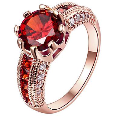 Damskie Cyrkonia Srebro standardowe Pozłacane Pokryte różowym złotem Pierścionek zaręczynowy Pierscionek Pierścień oświadczenia - Circle