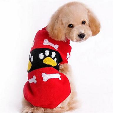 Σκύλος Πουλόβερ Ρούχα για σκύλους Ζεστό Καθημερινά Μοντέρνα Κινούμενα σχέδια Κόκκινο Ροζ Στολές Για κατοικίδια