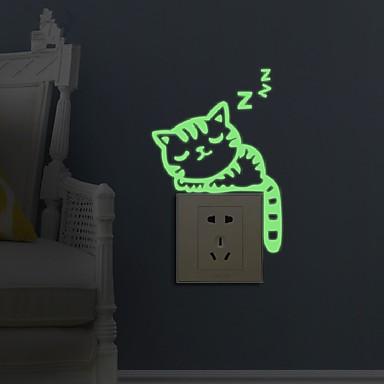 Tiere Mode Freizeit Wand-Sticker Leuchtende Wand Sticker Dekorative Wand Sticker Lichtschalter Sticker,Papier Stoff Haus Dekoration