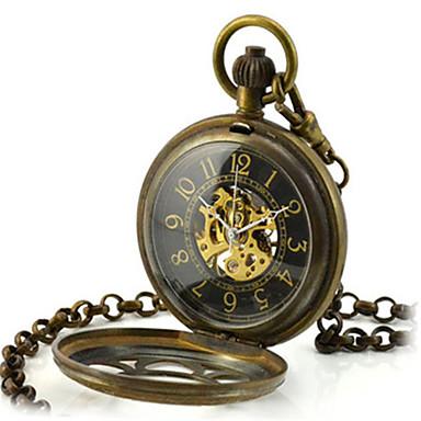 Heren Skeleton horloge Zakhorloge mechanische horloges Kwarts Handmatig opwindmechanisme Legering Band Brons