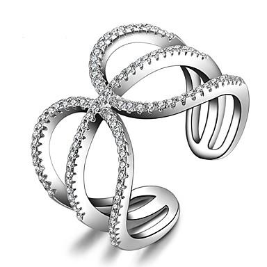 للمرأة خاتم البيان مكعب زركونيا فضي فضة الاسترليني مكعبات زركونيا أخرى Geometric Shape هندسي تصميم فريد كلاسيكي بيان المجوهرات