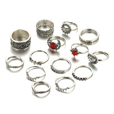 Pierścionki na palec środkowy Biżuteria Unikalny Modny Postarzane Stop Silver Biżuteria Na Ślub Impreza Codzienny Casual 1set 1szt