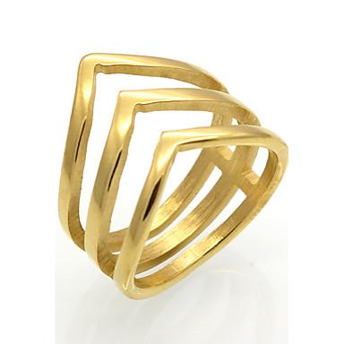 Miesten Naisten Band Ring Kulta Hopea Titaaniteräs 18K kultaa Neliö Geometric Shape epäsäännöllinen Yksilöllinen Geometrinen Uniikki