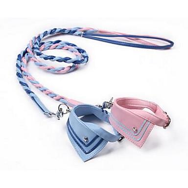 Κολάρα Λουριά Ασφάλεια Εκπαίδευση Μονόχρωμο PU Δέρμα Μπλε Ροζ