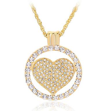 للمرأة قلب موضة قلائد الحلي حجر الراين كروم قلائد الحلي هدية يوميا فضفاض مجوهرات