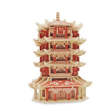 3D-puzzels Legpuzzel Modelbouwsets Beroemd gebouw Architectuur 3D Hout Chinese stijl