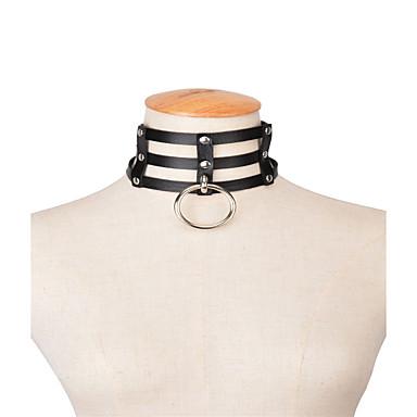 Dames Geometrische vorm Gepersonaliseerde Meetkundig Modieus Rock Euramerican Choker kettingen Sieraden Leder Choker kettingen , Feest