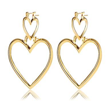 Γυναικεία Καρδιά Κρεμαστά Σκουλαρίκια - Καρδιά Χρυσό / Ασημί Σκουλαρίκια Για Γενέθλια / Καθημερινά / Γραφείο & Καριέρα