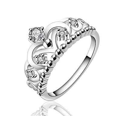 Dames Ring Zirkonia Zilver Zirkonia Koper Verzilverd Kroonvorm Gepersonaliseerde Meetkundig Uniek ontwerp Klassiek Vintage Tekojalokivi
