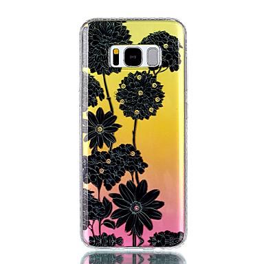 Pouzdro Uyumluluk Samsung Galaxy S8 Plus S8 Taşlı IMD Yarı Saydam Temalı Arka Kılıf Çiçek Sert PC için S8 S8 Plus S7 edge S7