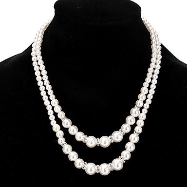 billige Mote Halskjede-Dame Perle Strands halskjede Dobbel damer Dobbelt lag Mote Euro-Amerikansk Imitert Perle Legering Gull Sølv Halskjeder Smykker Til Bryllup