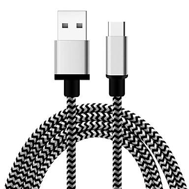 USB 2.0 نوع C محول كابل أوسب جديلي كابل من أجل Samsung Huawei LG نوكيا Lenovo موتورولا Xiaomi HTC Sony 100 cm منسوجات