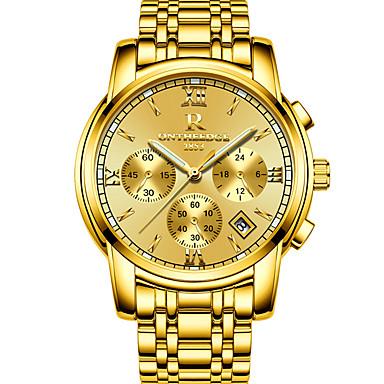 levne Pánské-Pánské Náramkové hodinky japonština Nerez Zlatá 30 m Kalendář Svítící Datum dne Analogové Přívěšky Luxus Klasické Na běžné nošení Skládaný - Zlatá Zlatožlutá Dva roky Životnost baterie