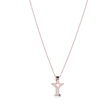 للرجال للمرأة Alphabet Shape تصميم فريد موديل الزينة المعلقة عبور بانغك هيب هوب Rock مجوهرات الأولية قلائد الحلي مكعب زركونيا روز جولد