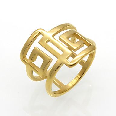Bărbați Pentru femei Inel Inel de declarație Band Ring Zirconiu Cubic Auriu Argintiu Oțel titan 18K Aur Rotund Geometric Shape neregulat