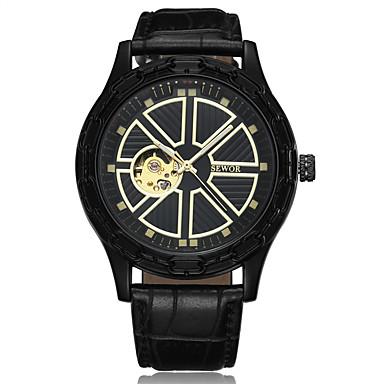 Heren Sporthorloge Dress horloge Skeleton horloge Modieus horloge Polshorloge Chinees Grote wijzerplaat Echt leer Band Vintage Streep