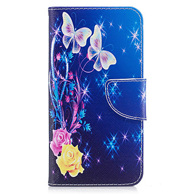 Für huawei p10 lite p8 lite (2017) Telefon Fall PU Leder Material gelb Schmetterling Muster gemalt p10 p9 lite p9 y5 ii Ehre 6x