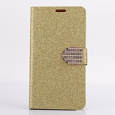 Voor Samsung Galaxy Note 4 Case Cover Kaarthouder Portemonnee Rhinestone Met Stand Flip Full Body Case Solid Color Glitter Shine Hard Pu