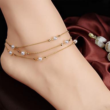 Dames Enkelring /Armbanden Parel Imitatieparel Legering Uniek ontwerp Modieus Sieraden Gouden Vrouwen Sieraden Feest Dagelijks Causaal1